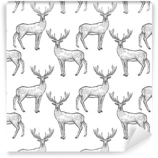 Seamless pattern with deer. Vinyl custom-made wallpaper
