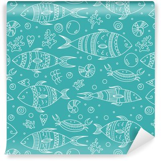 Seamless pattern with doodle sea elements. Vector illustration, zen art fishes, coral, bubble and shells Vinyl Custom-made Wallpaper