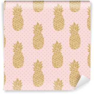 Seamless Pattern With Gold Pineapples On Polka Dot Background Pink And Pineapple