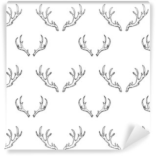 seamless pattern with hand drawn deer horns. forest hunting Vinyl custom-made wallpaper