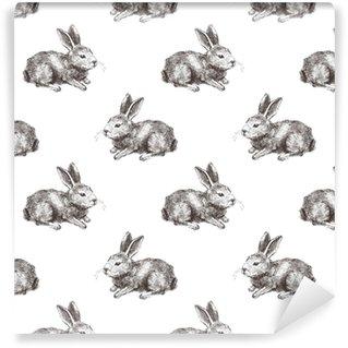 seamless pattern with hand drawn rabbit Vinyl custom-made wallpaper