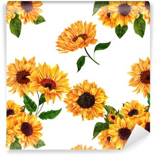 Seamless Pattern With Hand Drawn Watercolor Sunflowers Vinyl Wallpaper