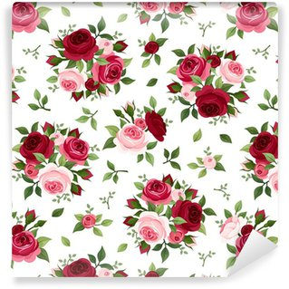 Seamless Pattern With Red And Pink Roses Vector Illustration Vinyl Wallpaper