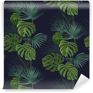 Seamless pattern with tropical leaves. Hand drawn background. Vinyl Wallpaper