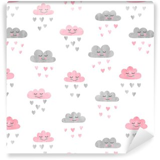 Seamless pattern with watercolor clouds and rain of hearts. Vector illustration. Vinyl Custom-made Wallpaper