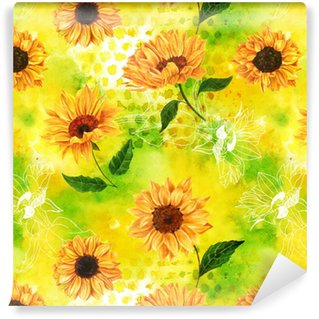 Seamless Pattern With Watercolor Sunflowers On Yellow Green Vinyl Wallpaper