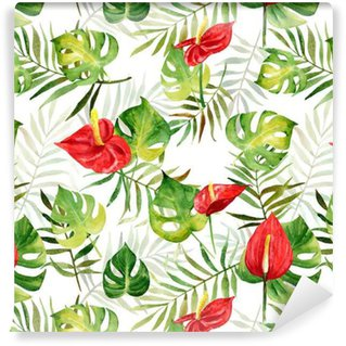 Seamless pattern with watercolor tropical flowers and leaves on striped background. Illustration can be used for gift wrapping, background of web pages, as a print for any printing products. Vinyl Custom-made Wallpaper