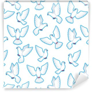 Seamless pattern with white doves. Beautiful pigeons faith and love symbol Vinyl Custom-made Wallpaper