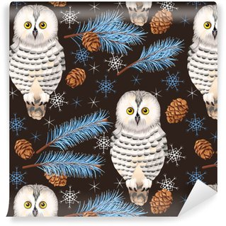 Seamless polar owl Vinyl Custom-made Wallpaper