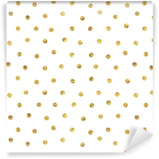 Seamless polka dot golden pattern. Vinyl Custom-made Wallpaper