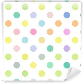 Seamless polka dot nursery vector pattern. Seamfree easter pastel color polkadots. Vinyl Custom-made Wallpaper