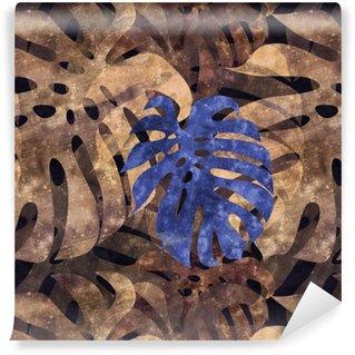 seamless repeatable monstera leaf background Vinyl Wallpaper