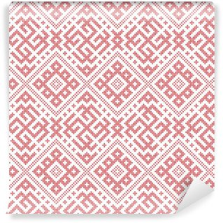 Seamless Russian folk pattern, cross-stitched embroidery imitation. Patterns consist of ancient Slavic amulets. Swatch included in vector file. Vinyl Custom-made Wallpaper