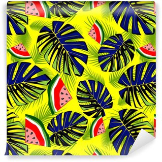 Seamless tropical pattern with green leaves and tasty watermelon. Vinyl Custom-made Wallpaper