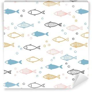 Seamless vector hand drawn fish pattern. Vinyl custom-made wallpaper