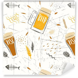 Seamless vector hand-drawn pattern of beer fest. Stylized beer glasses and grains on a white background. Vinyl custom-made wallpaper