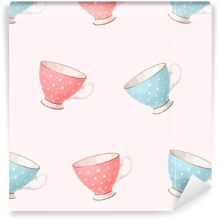 Seamless vintage teacups Vinyl custom-made wallpaper