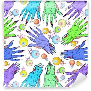 Seamless zombie hand, eye pattern. Halloween cartoon, funny back Vinyl Custom-made Wallpaper