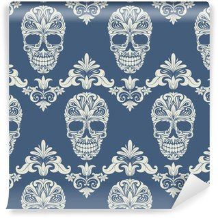 Skull Swirl Decorative Pattern Vinyl Custom-made Wallpaper