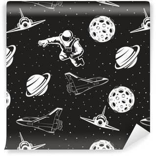 Space seamless pattern. Black and white version. Vinyl Custom-made Wallpaper