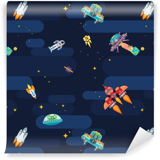 Space star pattern astronauts spaceships and flying aliens Vinyl Custom-made Wallpaper