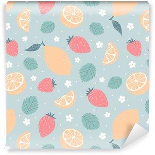 Strawberry and lemon seamless pattern in pastel colors. Vector illustration Vinyl custom-made wallpaper