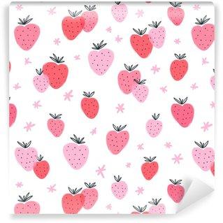Strawberry doodle seamless pattern Vinyl Custom-made Wallpaper