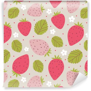 Strawberry seamless pattern in pink colors. Vector illustration Vinyl custom-made wallpaper