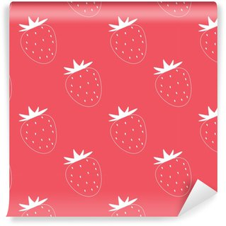 Strawberry vector seamless pattern. Contoured white strawberries with seeds on red background. Simple style. Vinyl custom-made wallpaper