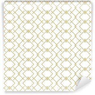 Stylish linear geometric seamless vector pattern in gold Vinyl Custom-made Wallpaper