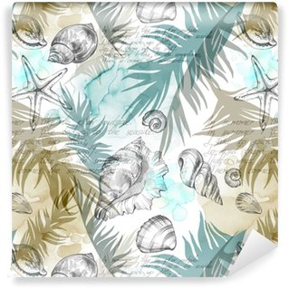Summer Party holiday background, watercolor illustration. Seamless pattern with sea shells, molluscs and palm leaves. Tropical texture in romantic colors. Vinyl custom-made wallpaper
