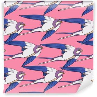 Swallow, birds. Colorful seamless pattern, background. Vinyl custom-made wallpaper