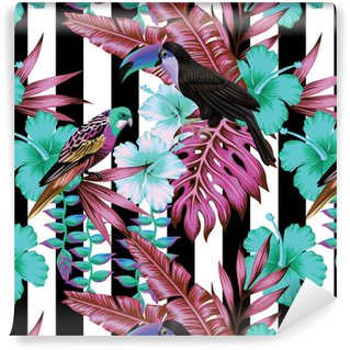 tropical birds and flowers pattern, striped background Vinyl custom-made wallpaper