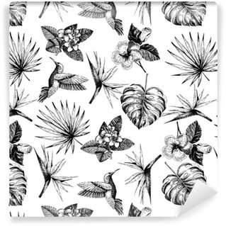 Vecotr hand drawn seamless pattern. tropical plants. Exotic engraved leaves and flowers. Monstera, livistona palm leaves, bird of paradise, plumeria, hibiscus, hummingbird. Vinyl Custom-made Wallpaper