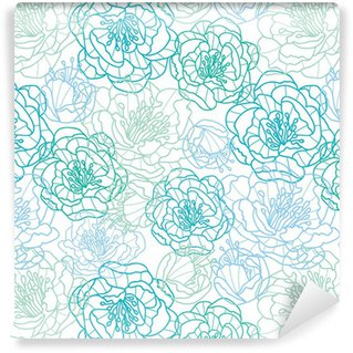 Vector blue line art flowers elegant seamless pattern background Vinyl custom-made wallpaper