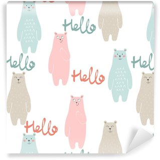 Vector cute seamless pattern with cartoon bear Vinyl Custom-made Wallpaper