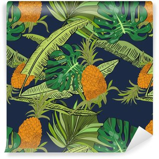 Vector drawn tropical seamless pattern on blue background with pineapples, monstera and banana leaves in a sketch style. Exotic collection. Vinyl custom-made wallpaper