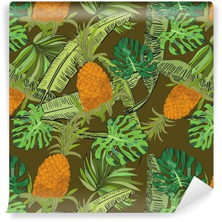 Vector drawn tropical seamless pattern on brown background with pineapples, monstera and banana leaves in a sketch style. Exotic collection. Vinyl custom-made wallpaper
