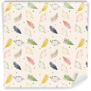 Vector floral pattern with fennel or dill flowers, fern leaves and confetti. Thin delicate line plants silhouettes and tiny dots in pastel colors on beige background Vinyl Custom-made Wallpaper