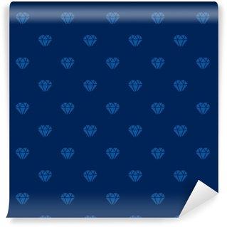 Vector illustration. Seamless pattern with silhouettes of diamonds on dark blue background Vinyl Custom-made Wallpaper
