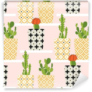 Vector pattern with cacti. Cute cactus flowers in ornamental pots. Hand drawing illustration. Vinyl Custom-made Wallpaper