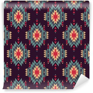 Vector seamless decorative ethnic pattern. American indian motifs. Background with aztec tribal ornament. Vinyl Custom-made Wallpaper