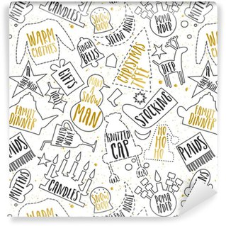 Vector seamless pattern of line contours of Christmas symbols and black and golden lettering on white background. Vinyl Custom-made Wallpaper