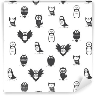 Vector seamless pattern with cute cartoon owls on white background. Vinyl custom-made wallpaper