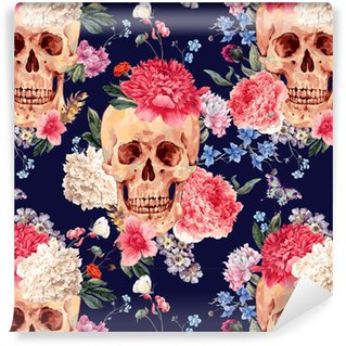 Vector seamless pattern with skull and flowers Vinyl custom-made wallpaper