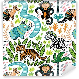 Vector seamless tropical pattern with decorative animal characters Vinyl Custom-made Wallpaper