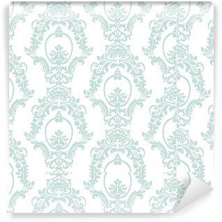 Vector Vintage Damask Pattern ornament Imperial style. Ornate floral element for fabric, textile, design, wedding invitations, greeting cards, wallpaper. Opal blue color Vinyl Custom-made Wallpaper