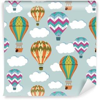 Vintage balloons seamless pattern. Retro hot air cartoon airship background Vinyl custom-made wallpaper