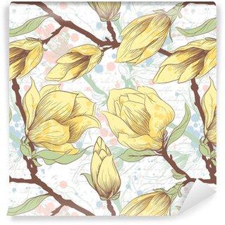 Vintage seamless pattern with magnolia flowers Vinyl custom-made wallpaper