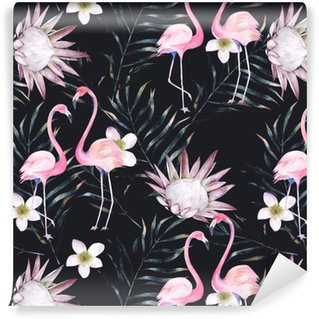 Watercolor african protea, flamingo and tropical leaves pattern. Seamless motif with painted floral elements on black background for wrapping, wallpaper, fabric. Hand drawn illustration Vinyl Custom-made Wallpaper